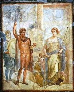 A mural in Pompeii depicting the marriage of Alexander the Great to Barsine (Stateira) in 324 BC.