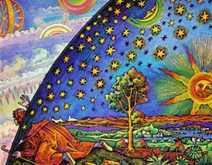 The Flammarion Engraving depicts a medieval missionary crawling under the edge of the sky to explore the Empyrean, or Transcendent, beyond.