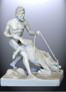 The great Greek Hero Heracles (Hercules, in Latin) subduing the Erymanthian Boar, by J. M. Felix Magdalena