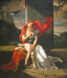 Oedipus at Colonus, by the artist Fulchran-Jean Harriet, is a painting of the tragic play of the same name by the Greek writer Sophocles.
