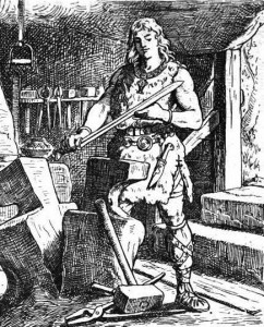 Sigurd (Siegfried) inspects his sword, Nothung