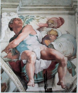 The prophet Jonah as painted by Michelangelo in the Sistine Chapel.