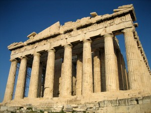 The Greek Parthenon, a temple located on the Acropolis in Athens, in Athena's honor