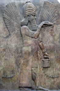 A depiction of the Babylonian god Marduk, who killed and split in two the goddess Tiamet, thus forming the heavens and the earth.