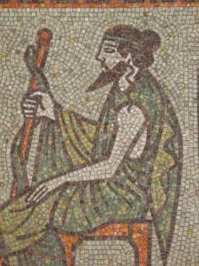 Asclepius - Fragment of mosaics in the Public Bath of Kyustendil. Author: Nikolai Zikov