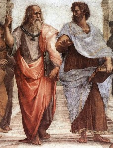 "Plato pointing upwards, signifying Higher Forms, with Aristotle discusses empiricism; from Raphael's painting ""The School of Athens."""